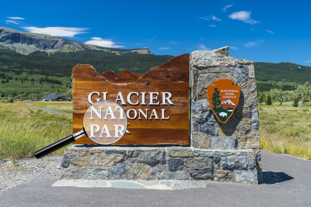 glacier national park,montana,usa. 7-22-17: glacier national park sign in the entrance.